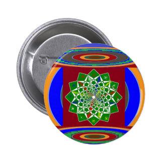 FLOWER CHAKRA Wheel Energy: Emerald Green 6 Cm Round Badge