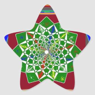 FLOWER CHAKRA Wheel Energy: Emerald Green Star Sticker