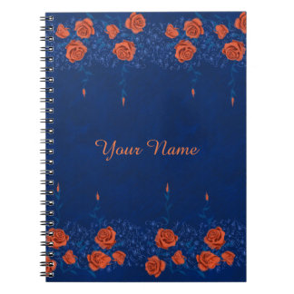 Flower chalk sketch roses hand drawing pattern spiral notebook