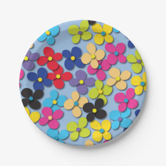 Flower Child Hippie Trippy Peace Fine Floral 7 Inch Paper Plate