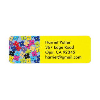 Flower Child Hippie Trippy Peace Fine Floral Return Address Label