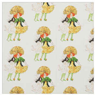 FLOWER CHILD - MARIGOLD FLORAL FAIRY PATTERN FABRIC