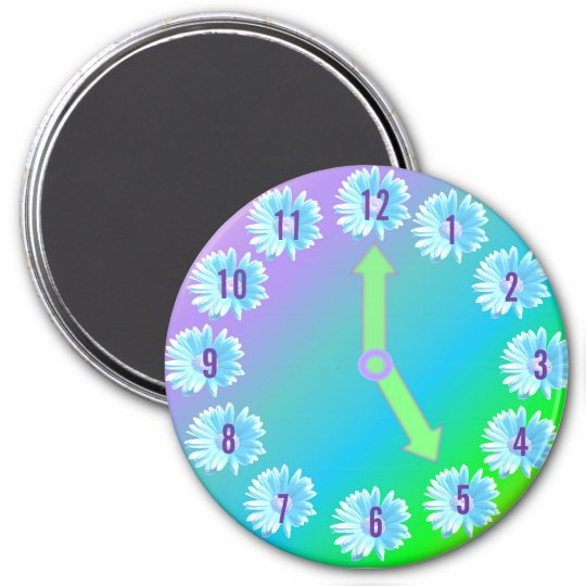 FLOWER CLOCK MAGNET