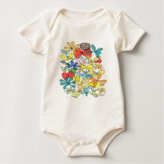 Flower collage baby bodysuit