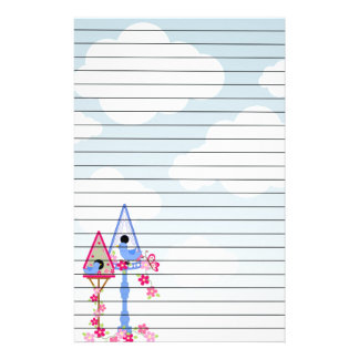 Flower Covered Bird Houses White Clouds Lined Stationery