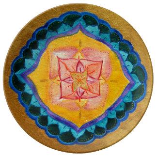 Flower Cross mandala  Decorative Porcelain Plate
