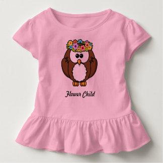 Flower Crown Owl Child's pink ruffle shirt