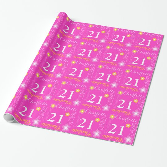 Flower custom name Charlotte 21 birthday wrap Wrapping Paper