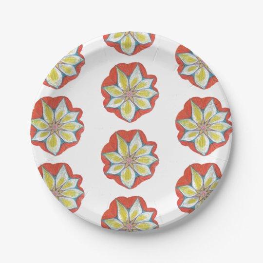Flower Custom Paper Plates 7 in