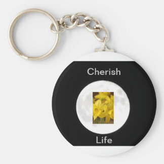 Flower Daffodil Moonlit Basic Round Button Key Ring