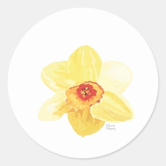 flower Daffodil Żonkila Round Sticker