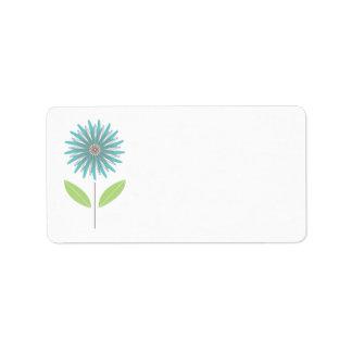 Flower Daisy Turquoise Blue Custom Address Label