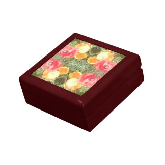 Flower Dapple Fractal Gift Box Red Mahogany Sml