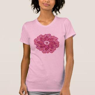 Flower & denim cherry red designer top t-shirt