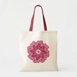Flower & denim designer two tone bag red