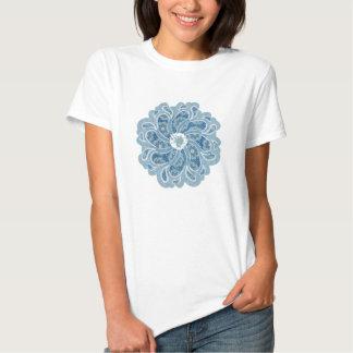 Flower & denim faded aqua designer top tees