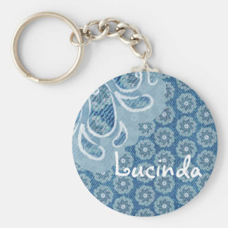 Flower & denim faded aqua name keychain
