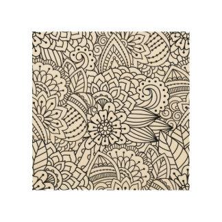 Flower Design Doodle 5 Wood Canvases