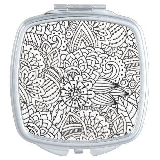 Flower Design Doodle Compact Mirror