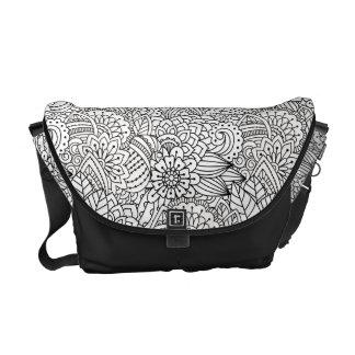 Flower Design Doodle Courier Bag