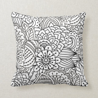 Flower Design Doodle Cushion