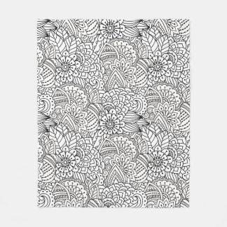 Flower Design Doodle Fleece Blanket