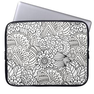 Flower Design Doodle Laptop Sleeve