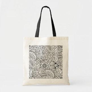 Flower Design Doodle Tote Bag