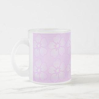 Flower Design Frosted Glass Mug