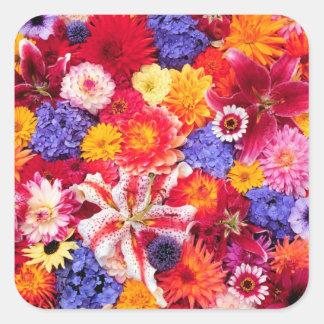 Flower design of Dalhia, Oriental Lilies, Square Sticker