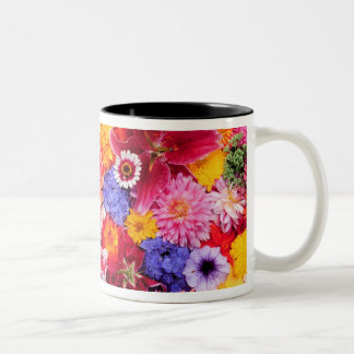 Flower design of Dalhia, Oriental Lilies, Two-Tone Coffee Mug