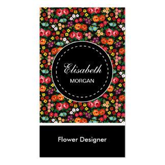 Flower Designer Colorful Floral Pattern Pack Of Standard Business Cards