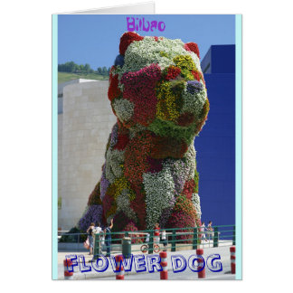 Flower dog greeting card