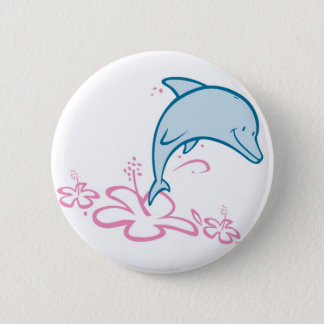 Flower Dolphin 6 Cm Round Badge