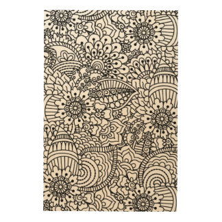 Flower Doodle 5 Wood Canvases