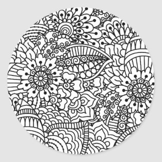 Flower Doodle Classic Round Sticker
