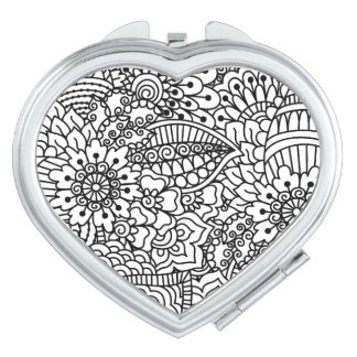 Flower Doodle Compact Mirrors