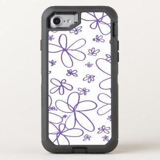 Flower Doodle Purple OtterBox Defender iPhone 8/7 Case