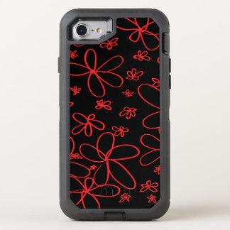 Flower Doodle Red OtterBox Defender iPhone 8/7 Case
