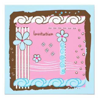 Flower Doodles 13 Cm X 13 Cm Square Invitation Card