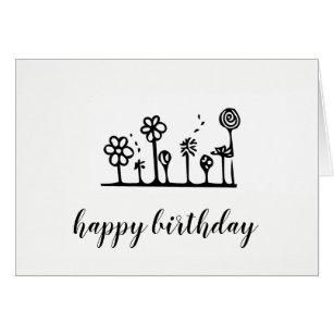 black and white birthday greeting gifts gift ideas zazzle uk Birthday Cake flower drawing birthday card blank inside
