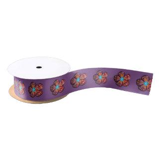 Flower Drawing Purple  Satin Ribbon, 2 Yard Spool Satin Ribbon