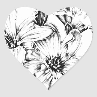 Flower drawing sketch art handmade heart sticker