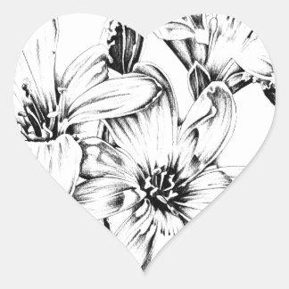 Flower drawing sketch art handmade heart sticker