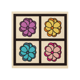 Flower Drawing Wood Canvas