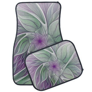 Flower Dream, Abstract Purple Green Fractal Art Floor Mat
