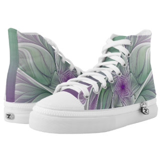 Flower Dream, Abstract Purple Green Fractal Art High Tops