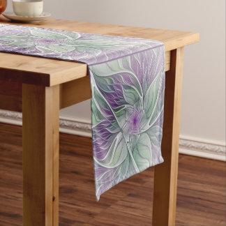Flower Dream, Abstract Purple Green Fractal Art Short Table Runner