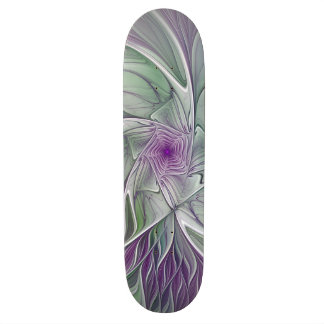 Flower Dream, Abstract Purple Green Fractal Art Skateboard Decks