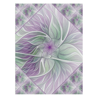 Flower Dream, Abstract Purple Green Fractal Art Tablecloth